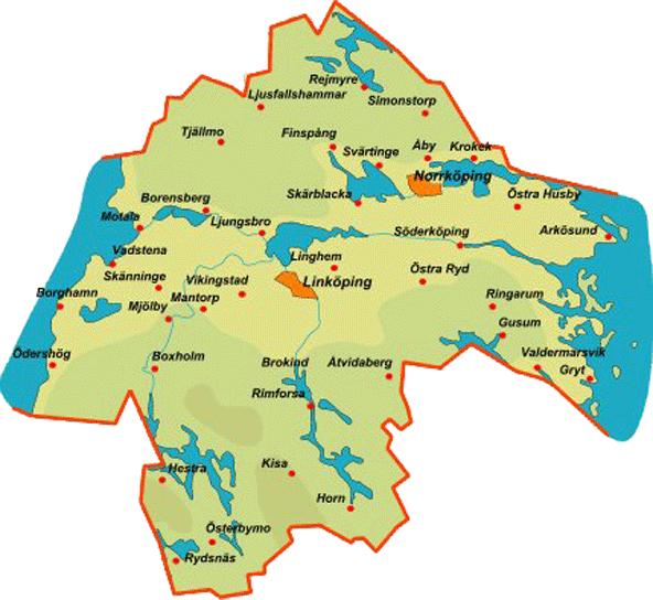 östergötland karta Province Östergötland östergötland karta