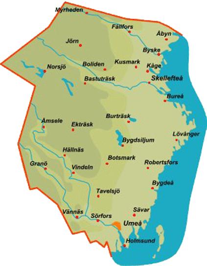 västerbotten karta Province Västerbotten västerbotten karta